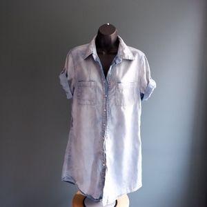 Jean shirt short sleeve Chambray top Sz M